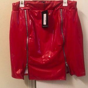 Red pleather zip skirt